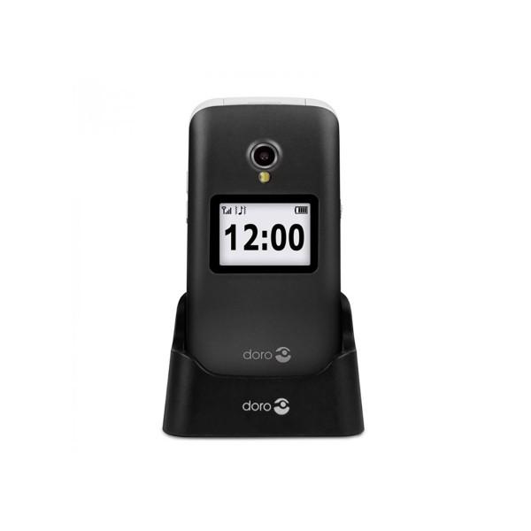 Doro 2424 negro blanco móvil senior 2.4'' pantalla de notificaciones cámara 3mp bluetooth radio fm micro sd incluye base de carga