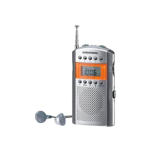 Grundig mini 62 naranja/plata radio fm digital portátil con altavoz y auriculares