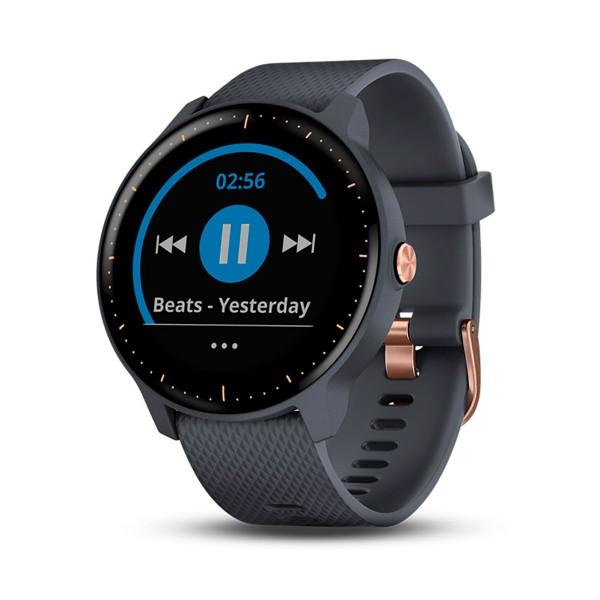 Garmin vivoactive 3 music azul granito y oro rosa smartwatch multideporte gps con almacenamiento y reproducción de música