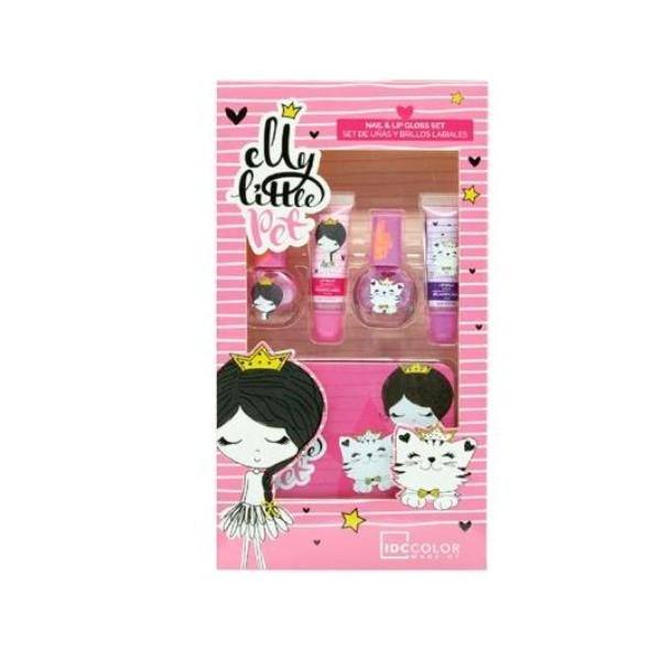Elly Little IDC  Estuche Metal  2 lacas de uñas + 2 Brillos Labios