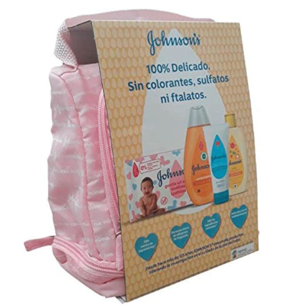 Johnson's Baby Mochila Rosa + Toallitas 20uds + Champú clásico 300 ml + Colonia cítrica 200 ml + Crema de Pañal 200ml