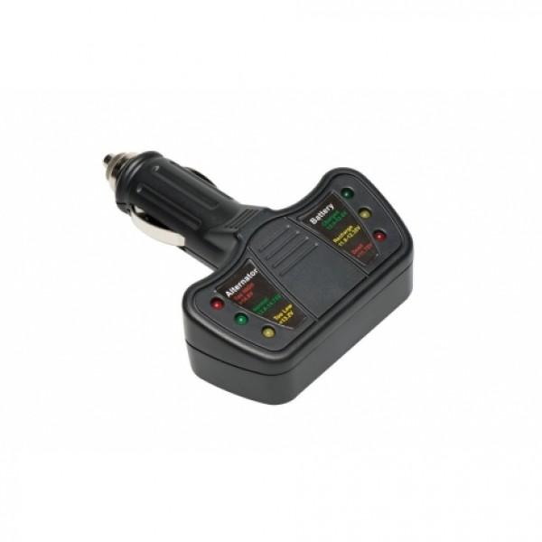 Tester de baterías y alternadores COMPACTO 12V Con LEDs