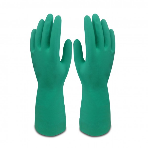 """Guante nitrilo quimico verde 38cm.10"""""""