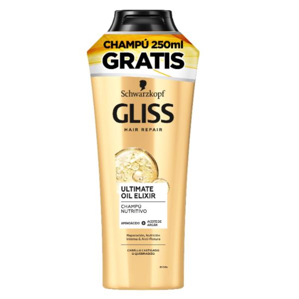 Gliss champú Ultimate Oil Elixir 370 ml + champú  Ultimate Oil Elixir 250 ml GRATIS