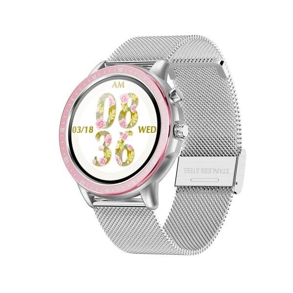 Dcu silver metal smartwatch 23 modos deportivos plata + silicona gris
